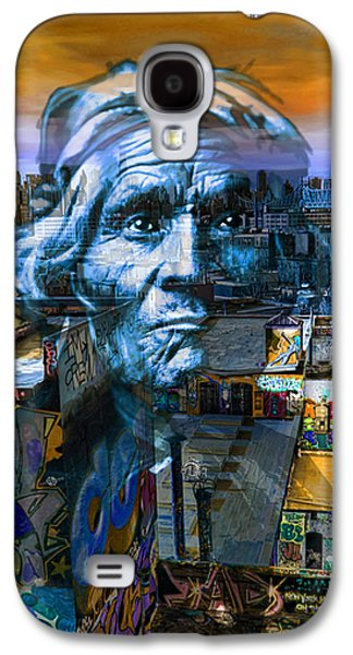 The Hills Mixed Media Galaxy S4 Cases - Ghost Tribe Native Americans in New York Blue Galaxy S4 Case by Tony Rubino