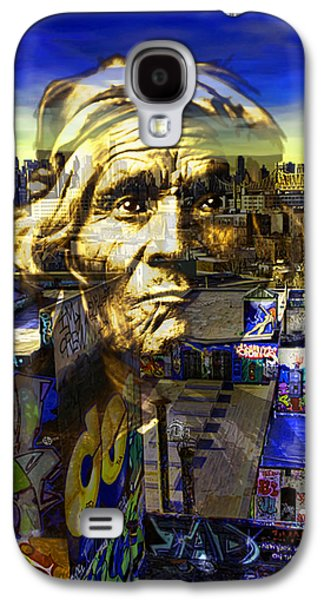 The Hills Mixed Media Galaxy S4 Cases - Ghost Tribe Native Americans in New York Yellow Galaxy S4 Case by Tony Rubino