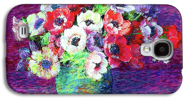 Purple Paintings Galaxy S4 Cases - Gift of Anemones Galaxy S4 Case by Jane Small