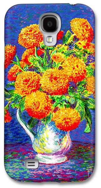 Gift Of Gold, Orange Flowers Galaxy S4 Case by Jane Small