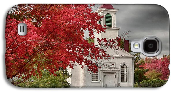 Landscapes Photographs Galaxy S4 Cases - Gilmanton Church under fiery fall colors Galaxy S4 Case by Jeff Folger