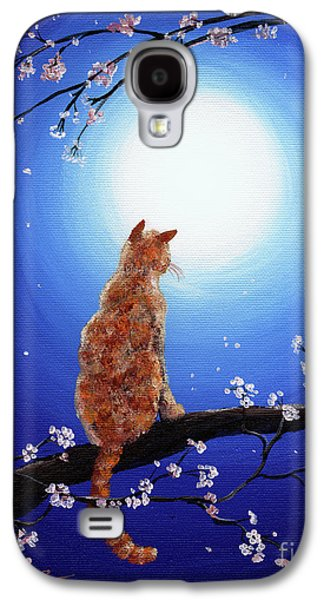 Ginger Cat In Blue Moonlight Galaxy S4 Case by Laura Iverson