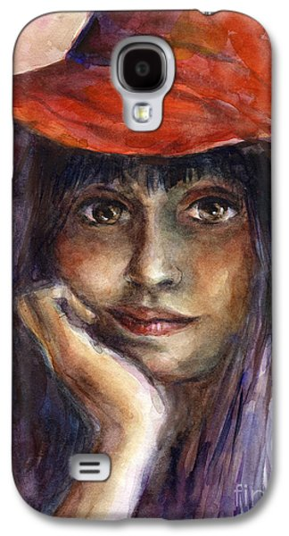Watercolor Drawings Galaxy S4 Cases - Girl in a red hat portrait Galaxy S4 Case by Svetlana Novikova