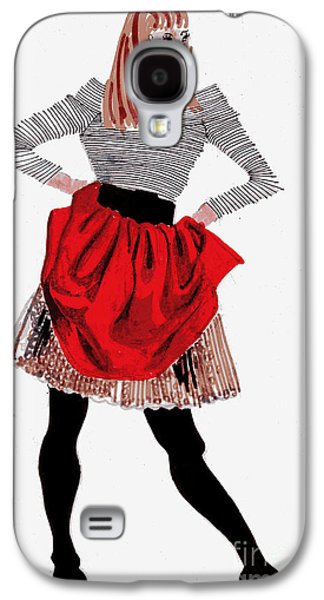 Twiggy Galaxy S4 Cases - Girl In Red Skirt Galaxy S4 Case by Genevieve Esson
