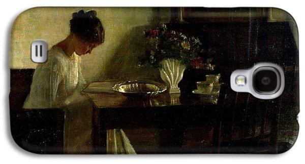 Girl Reading In An Interior  Galaxy S4 Case by Carl Holsoe