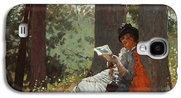 Novel Paintings Galaxy S4 Cases - Girl Reading Under an Oak Tree Galaxy S4 Case by Winslow Homer