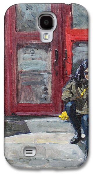 Montreal Paintings Galaxy S4 Cases - Girl Sitting at Red Doorstep Galaxy S4 Case by Ylli Haruni