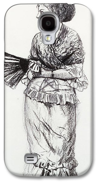 Girl Pastels Galaxy S4 Cases - Girl With Fan Galaxy S4 Case by Winslow Homer