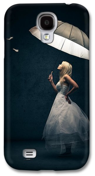 Dressed Galaxy S4 Cases - Girl with umbrella and falling feathers Galaxy S4 Case by Johan Swanepoel
