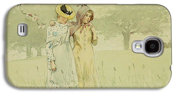 Sisters Galaxy S4 Cases - Girls strolling in an Orchard Galaxy S4 Case by Winslow Homer