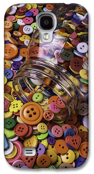 Glass Jar Spilling Buttons Galaxy S4 Case by Garry Gay