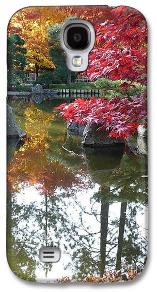 Pond In Park Galaxy S4 Cases - Glorious Fall Colors Reflection with Border Galaxy S4 Case by Carol Groenen