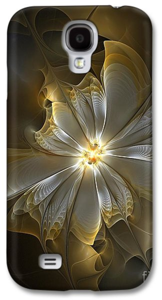 Floral Digital Digital Galaxy S4 Cases - Glowing in Silver and Gold Galaxy S4 Case by Amanda Moore