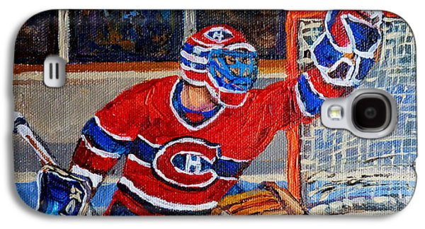 Canadiens Paintings Galaxy S4 Cases - Goalie Makes The Save Stanley Cup Playoffs Galaxy S4 Case by Carole Spandau