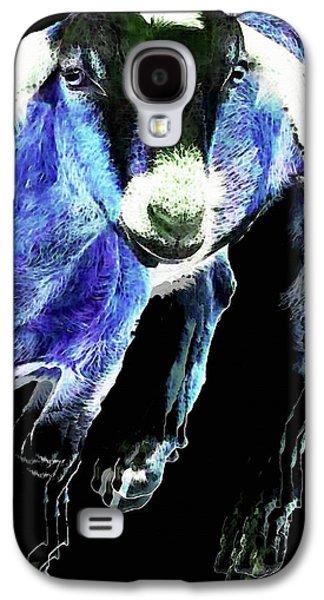 Goat Pop Art - Blue - Sharon Cummings Galaxy S4 Case by Sharon Cummings