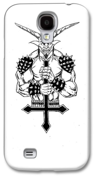 Religious Drawings Galaxy S4 Cases - Goatlord and the Cross Galaxy S4 Case by Alaric Barca
