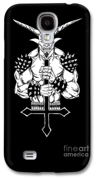 Religious Drawings Galaxy S4 Cases - Goatlord and the Cross Black Galaxy S4 Case by Alaric Barca