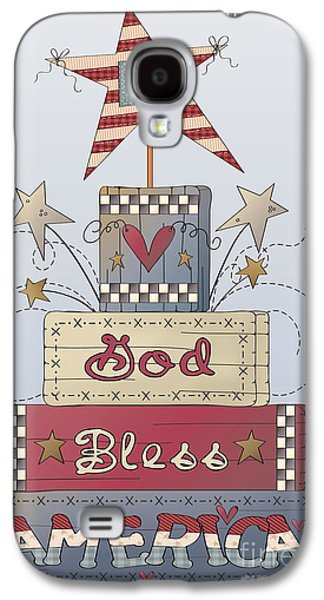 4th July Paintings Galaxy S4 Cases - God Bless America-JP2839 Galaxy S4 Case by Jean Plout