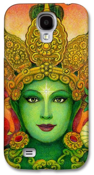 Mystical Paintings Galaxy S4 Cases - Goddess Green Taras Face Galaxy S4 Case by Sue Halstenberg