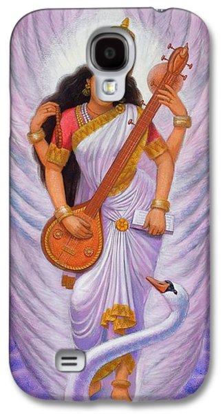 Hindu Goddess Galaxy S4 Cases - Goddess Saraswati Galaxy S4 Case by Sue Halstenberg