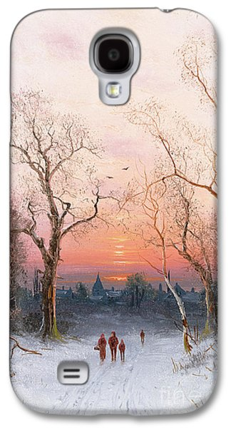 Crows Paintings Galaxy S4 Cases - Going Home Galaxy S4 Case by Nils Hans Christiansen