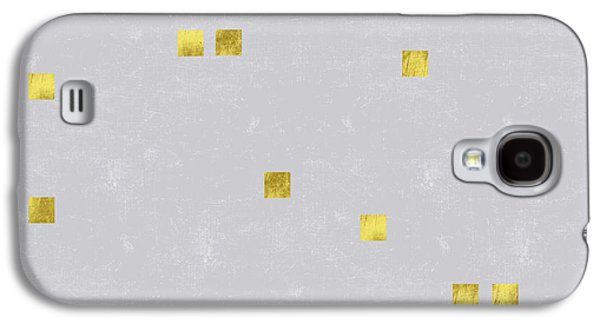 Gold Scattered Square Confetti Pattern On Grey Linen Texture Galaxy S4 Case by Tina Lavoie