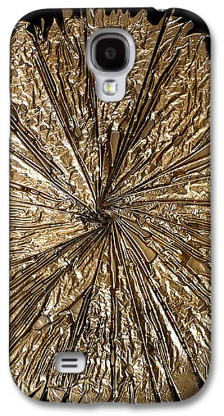 Abstracted Glass Art Galaxy S4 Cases - Gold Spin Galaxy S4 Case by Rick Silas