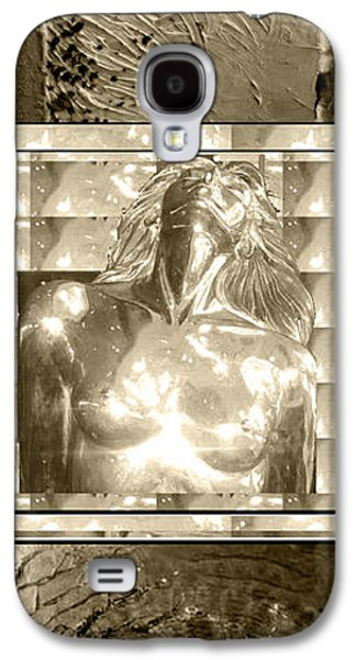 Business Galaxy S4 Cases - Gold Tinted Black n White Art Mermaid Bust in Centre Acrylic Texture Art on top and Rare Earth Stone Galaxy S4 Case by Navin Joshi