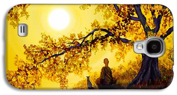 Meditation Paintings Galaxy S4 Cases - Golden Afternoon Meditation Galaxy S4 Case by Laura Iverson