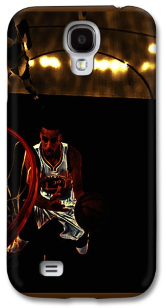 Dell Mixed Media Galaxy S4 Cases - Golden Boy Stephen Curry Galaxy S4 Case by Brian Reaves