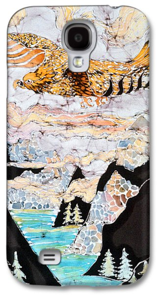 Fantasy Tapestries - Textiles Galaxy S4 Cases - Golden Eagle Flies Above Clouds and Mountains Galaxy S4 Case by Carol  Law Conklin