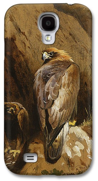 Golden Eagles At Their Eyrie Galaxy S4 Case by Archibald Thorburn