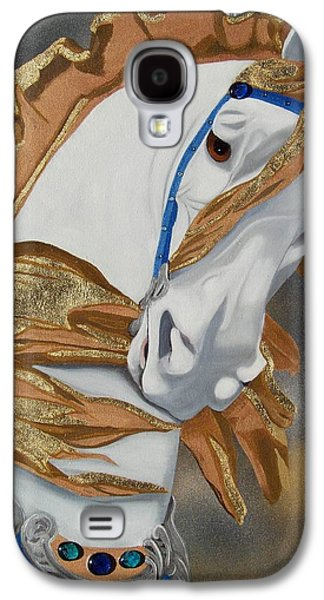 Carousel Horse Paintings Galaxy S4 Cases - Golden Fantasy Galaxy S4 Case by Debbie LaFrance