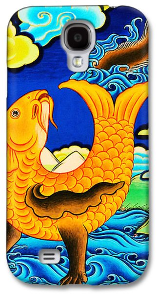 Golden Fish Paintings Galaxy S4 Cases - Golden Fish Galaxy S4 Case by Lanjee Chee