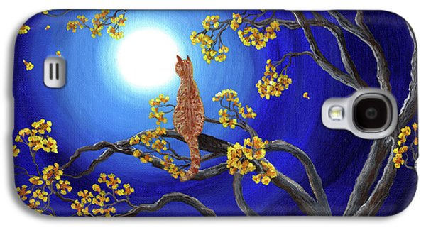 Orange Tabby Paintings Galaxy S4 Cases - Golden Flowers in Moonlight Galaxy S4 Case by Laura Iverson