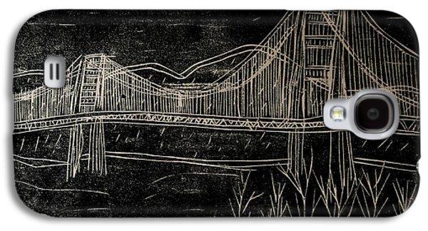 Golden Gate Bridge Black And White Woodcut Print  Galaxy S4 Case by Marina McLain