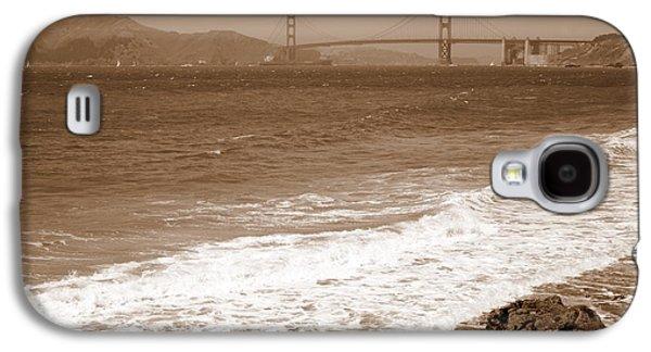 China Beach Galaxy S4 Cases - Golden Gate Bridge with Shore - Sepia Galaxy S4 Case by Carol Groenen