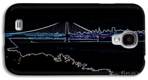 Buildings By The Ocean Galaxy S4 Cases - Golden Gate in Neon Galaxy S4 Case by Heather Joyce Morrill