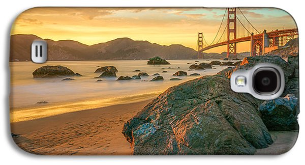 Architecture Photographs Galaxy S4 Cases - Golden Gate Sunset Galaxy S4 Case by James Udall