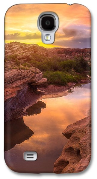 Southwest Landscape Galaxy S4 Cases - Golden Light in Moab Galaxy S4 Case by Darren  White