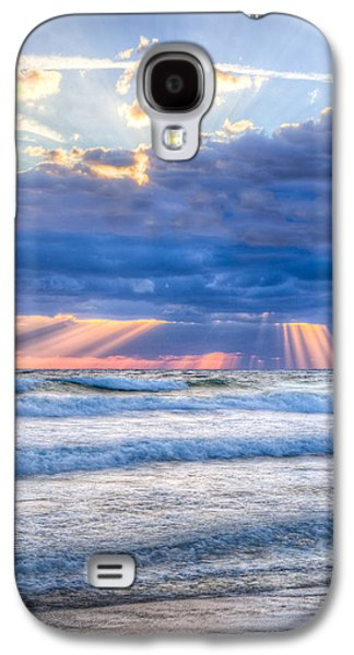 Golden Rays In Blue Galaxy S4 Case by Debra and Dave Vanderlaan