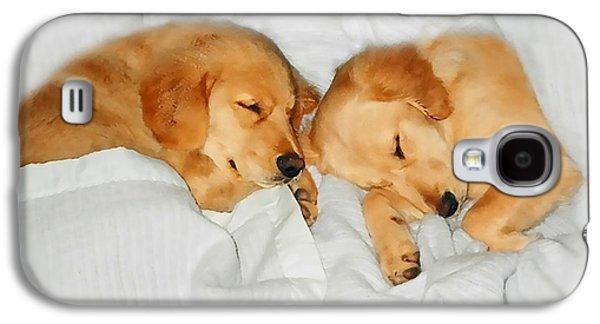 Sleeping Dog Galaxy S4 Cases - Golden Retriever Dog Puppies Sleeping Galaxy S4 Case by Jennie Marie Schell