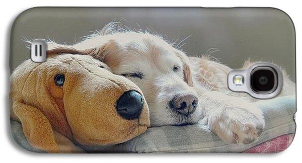 Golden Retriever Dog Sleeping With My Friend Galaxy S4 Case by Jennie Marie Schell