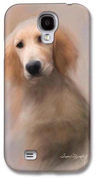 Puppies Digital Art Galaxy S4 Cases - Golden Retriever Puppy Galaxy S4 Case by Susan  Lipschutz