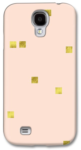 Golden Scattered Confetti Pattern, Baby Pink Background Galaxy S4 Case by Tina Lavoie