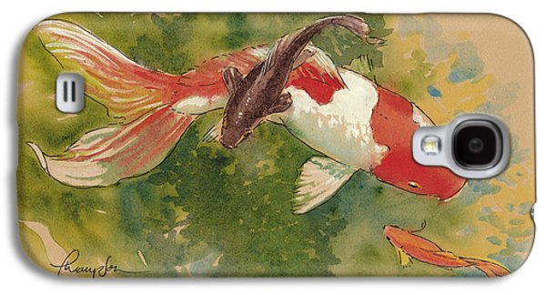 Fish Pond Galaxy S4 Cases - Goldfish Crossing Galaxy S4 Case by Tracie Thompson