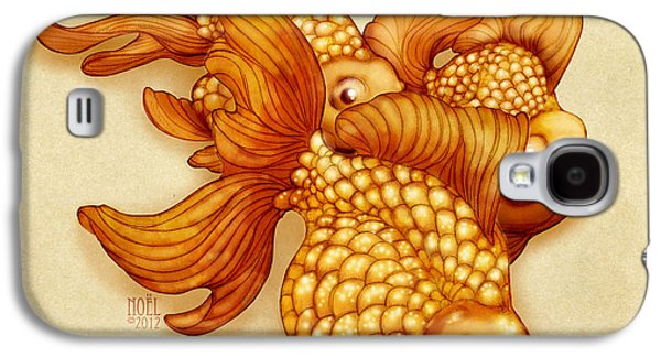 Goldfish Mixed Media Galaxy S4 Cases - Goldfish III Galaxy S4 Case by Catherine Noel