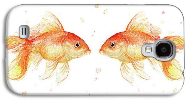 Goldfish Love Watercolor Galaxy S4 Case by Olga Shvartsur