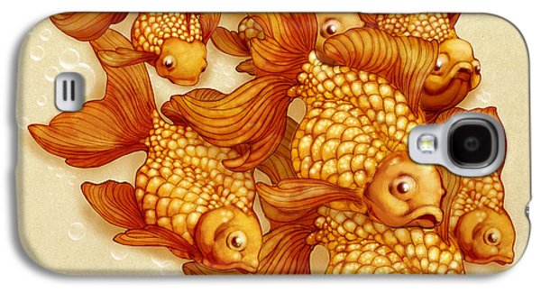 Goldfish Mixed Media Galaxy S4 Cases - Goldfish on the Go Galaxy S4 Case by Catherine Noel