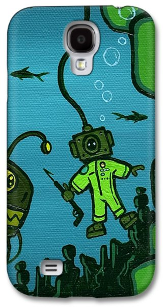 Shark Paintings Galaxy S4 Cases - Gone Fishn Galaxy S4 Case by Dan Keough